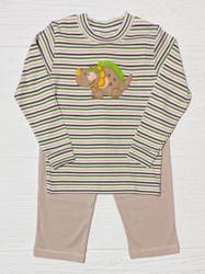 Squiggles Brown/Green Stripe Dino Pant Set