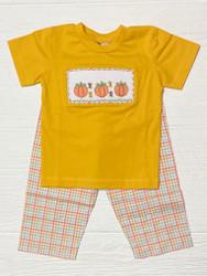 Banana Split Pumpkin Patch Smocked Boy Pant Set