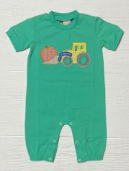 Banana Split Pumpkin Tractor Applique Boy Romper
