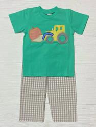 Banana Split Pumpkin Tractor Applique Boy Pant Set