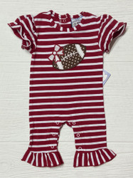 Three Sisters Baby Football Applique Girls Romper