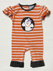 Three Sisters Baby Ghost Applique Girls Romper
