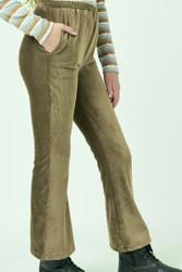 Hayden Army Green Velour Flair Pants