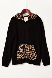 Hayden Black Cheetah Zipper Hoodie with Pockets