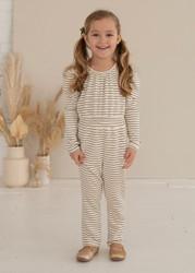 Mabel & Honey Cookies & Cream Stripe Knit Jumpsuit
