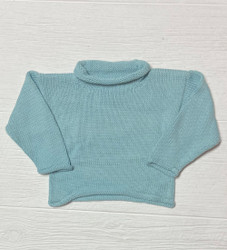 Lily Pads Aqua Solid Roll Sleeve Sweater