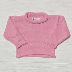 Lily Pads Bubblegum Pink Solid Roll Sleeve Sweater