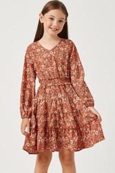 Hayden Coral Floral Print Silky Dress