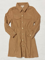 Hayden Camel Babydoll Button Up Dress with Pockets