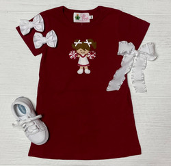 Lily Pads Burgundy Cheerleader Dress with Pockets