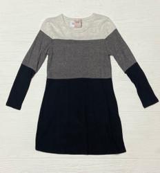 For All Seasons Black/Grey Colorblock L/S Dress