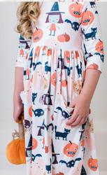 Mila & Rose Boo Crew 3/4 Sleeve Pocket Twirl Dress