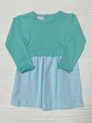 Squiggles Aqua/Aqua Stripe Ruffle Dress
