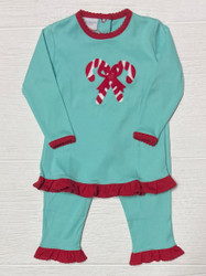 Squiggles Aqua/Red Candy Canes Ruffle Pant Set