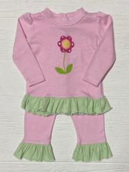 Squiggles  Crochet Flower Ruffle Pant Set
