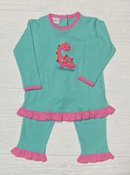 Squiggles Aqua/Bubblegum Dinah Dino Pant Set