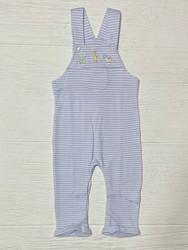 Squiggles Blue Stripe Baby Safari Button Overall