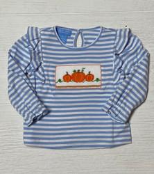 Anavini Blue Stripe Pumpkin Girls Tee