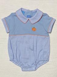 Anavini Blue Knit Pumpkin Boys Bubble