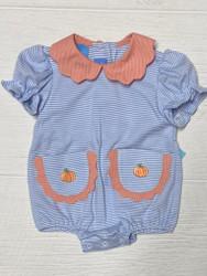 Anavini Blue Knit Pumpkin Scallop Collar Bubble