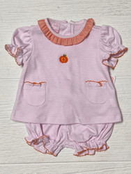 Petit Bebe Pink Knit Pumpkin Bloomer Set