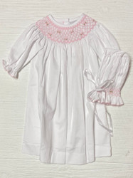 Delaney Pink Smocked Ric Rac Daygown & Bonnet