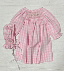 Delaney Pink Check Smocked Daygown & Bonnet