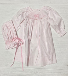 Delaney White/Pink Dot Smock Bow Daygown & Bonnet