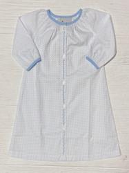 Delaney White/Blue Mini Dot Daygown