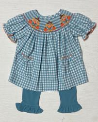 Delaney Aqua Gingham Check Scarecrow Bishop Set