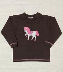 Lily Pads Brown Horse Applique Crew Sweatshirt