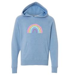 Honey Bee Tees Blue Rainbow Hooded Sweatshirt