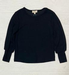 Hayden Black Ribbed Cuffed Sleeve L/S Shirt