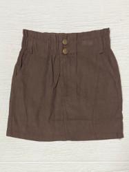 Hayden Brown Cord Button Skirt