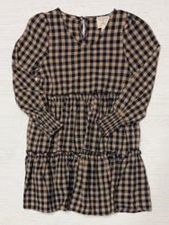Hayden Black/Tan Gingham Tiered Dress