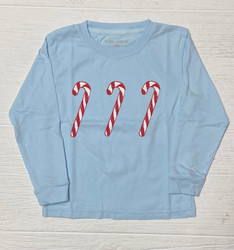 Mustard & Ketchup Kids Blue Candy Canes L/S Tee