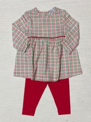 Ishtex Red/Green Plaid Girls Legging Set