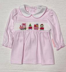 Petit Bebe Pink Check Knit Christmas Train Dress