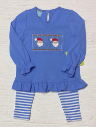 Anavini Blue Santa Face Smocked Legging Set