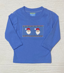 Anavini Blue Santa Face Smocked Boys Tee