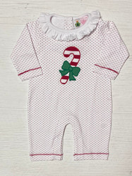 Lily Pads Red Dot Candy Cane with Bow Knit Romper