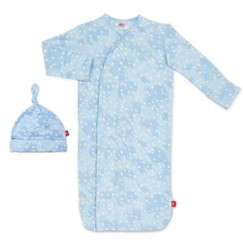 Magnificent Baby Blue Doeskin Modal Gown & Hat