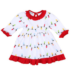 Magnolia Baby Holiday Lights Dress with Bloomers