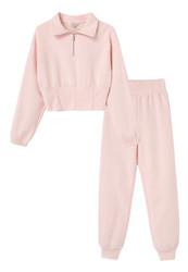 Habitual Pink Collar Pull Over Pant Set