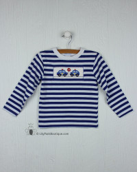 Silly Goose Royal Blue Police Cars Smocked Tee