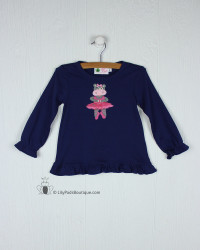 Lily Pads by Acvisa Royal Hippo Ballerina Applique Ruffle L/S Tee