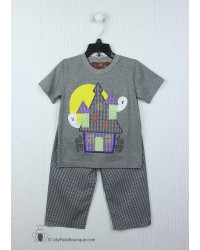 Millie Jay Haunted House Applique Boys Pant Set