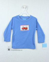 Anavini Periwinkle Blue Firetruck Smocked L/S Tee