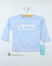 Claire & Charlie Blue Stripe Big Brother Shirt