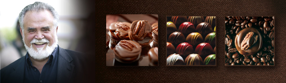 Herbert Kohler Jr. next to images of chocolates